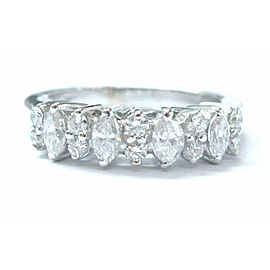 18Kt Multi Shape Diamond White Gold Band Ring .86Ct
