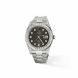 Rolex Datejust II Steel 41mm Watch 4.5CT Diamond Bezel/Lugs/Rhodium Dial