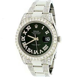 Rolex Datejust II 41mm Steel Watch 7.63CT Diamond 116300 Box Papers