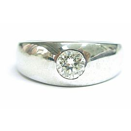 Dome Halo Round Solitaire Diamond Solid White Gold Jewelry Ring 14Kt .54CT