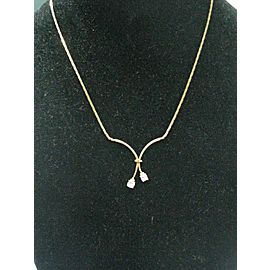 Natural Pear Shape Diamond Split Drop Yellow Gold Necklace .44Ct 16""
