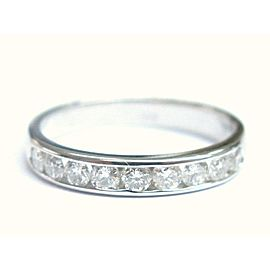Natural Round Diamond Channel Set Nine Stone White Gold Band Ring 14KT .50Ct