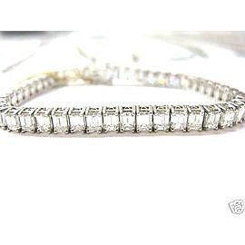 NATURAL Emerald Cut Diamond Tennis Bracelet Solid White Gold 18Kt 15.89Ct H/VS1
