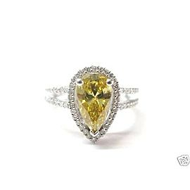 Pear Shape Diamond Split Shank Engagement Ring Solid White Gold 14Kt GIA 2.32CT