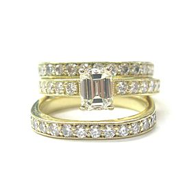 Emerald & Round Diamond Engagement Set Three Rings 18Kt Solid Yellow Gold 2.27Ct