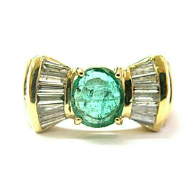 Green Emerald & Baguette Diamond Ring Solid 18Kt Yellow Gold 2.07Ct SIZEABLE
