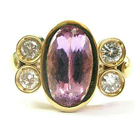 Oval Pink Tourmaline & Diamond Yellow Gold Ring Solid 14Kt 3.56Ct G-VS