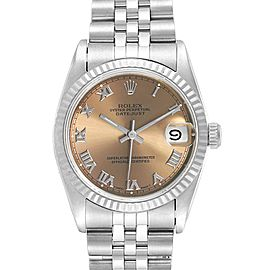 Rolex Datejust Midsize 31 Steel White Gold Salmon Dial Ladies Watch 68274
