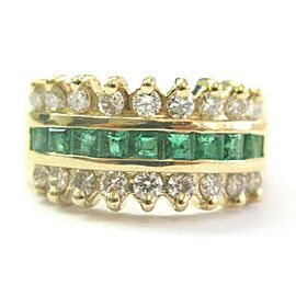 Colombian Emerald & Diamond Three Row Ring Solid 14Kt Yellow Gold 1.36Ct SIZEABL