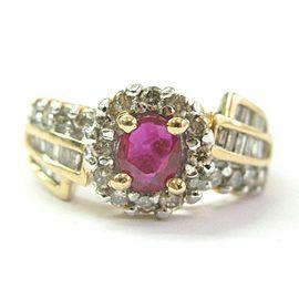 Oval Ruby & Multi Shape Diamond Ring 14Kt Yellow Gold 1.19Ct SIZEABLE