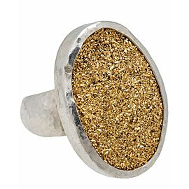 Gurhan 24k and sterling silver Galaxy Drusy quartz ring size 6.5