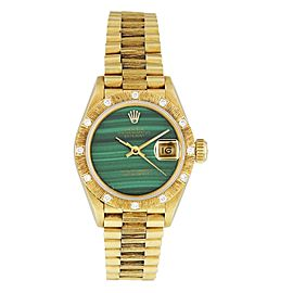 Rolex Datejust Green Malachite 69288 Diamond Bark bezel Ladies Watch