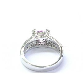 Oval Pink Sapphire & Diamond Pave Ring Solid 14Kt White Gold 2.10Ct SIZEABLE