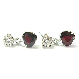 Heart Shape Ruby & Diamond Drop Earrings Solid 14KT White Gold 4.03Ct F-VS1