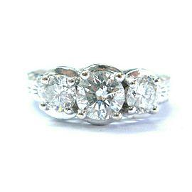 Three Stone Round Diamond Engagement Ring 14Kt White Gold Milgrain Band 1.90Ct