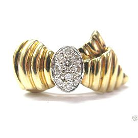 Ribbon Diamond Ring 18Kt Solid Yellow Gold .38Ct H-SI1 SIZEABLE