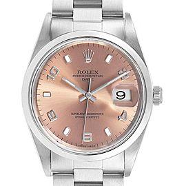 Rolex Date Salmon Dial Oyster Bracelet Steel Unisex Watch 15200