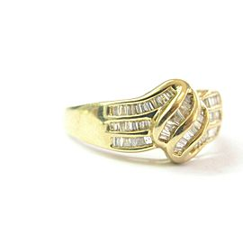 Overlap Baguette Diamond Yellow Gold Ring 14Kt .60Ct SIZEABLE