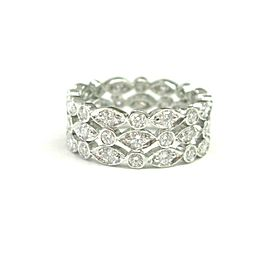 Tiffany & Co Platinum Swing 3-Row Diamond Ring Size 4.5