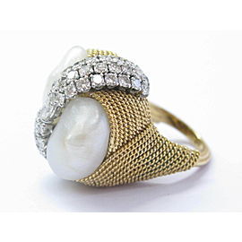 David Webb 18Kt Natural Pearl & Diamond Yellow Gold Ring 2.25Ct