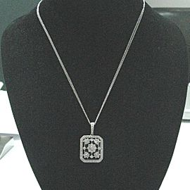 Fine Onyx Diamond Milgrain Flower Locket Pendant White Gold Necklace .40Ct