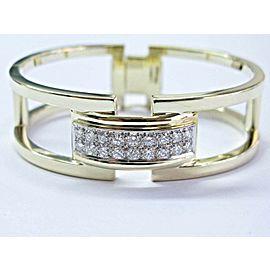 Fine WIDE Round Cut Diamond Yellow Gold Open Bangle 1.26Ct 14KT