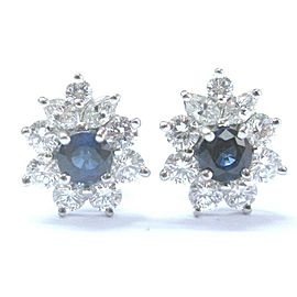 Tiffany & Co Platinum Victoria Blue Sapphire Diamond Earrings 1.63CT