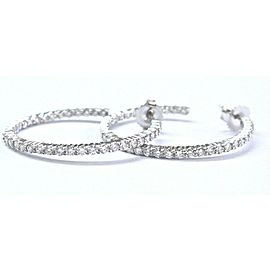 "18Kt Inside Out White Gold Diamond Hoop Earrings 1.25"" 2.00Ct"
