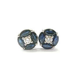 Natural Ceylon Sapphire & Diamond White Gold Stud Earrings 2.30Ct 14Kt