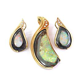 18Kt NATURAL Opal & Diamond SOLID YELLOW GOLD Pendant & Earrings .50Ct