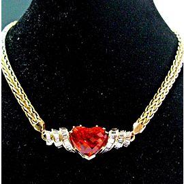 Heart Shape NATURAL Mandarian Garnet & Diamond YG Necklace UNTREATED GIA 27.97C