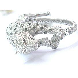 NATURAL 18Kt Multi Color Diamond Cheetah White Gold Bangle Bracelet 17.37Ct