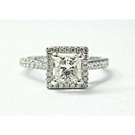 Natural Princess & Round Diamond White Gold Halo Engagement Ring 1.11Ct H-VVS2