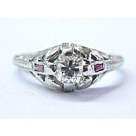 18Kt Vintage Old European Diamond & Ruby White Gold Engagement Ring