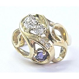 Natural Vintage Old European Cut Diamond & Amethyst Yellow Gold Ring .70Ct 14KT