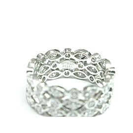 Tiffany & Co Platinum Swing 3-Row Diamond Ring Size 6.5
