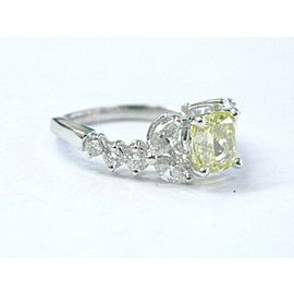 Fancy Intense Yellow Cushion Diamond Engagement Ring 18Kt White Gold GIA 2.07Ct