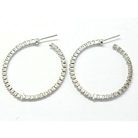 "Inside Out Round Diamond Hoop Earrings 14Kt White Gold 1.5"" 3.20Ct G-VS2"