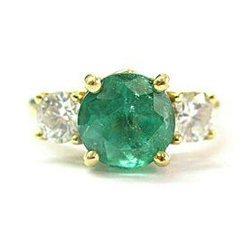Colombian Green Emerald & Diamond Three Stone Ring 3.10Ct F-VS1 18Kt SIZEABLE