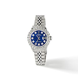 Rolex Datejust Steel 26mm Jubilee Watch 2CT Diamond Bezel / Royal Blue MOP Dial