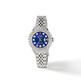 Rolex Datejust Steel 26mm Jubilee Watch 2CT Diamond Bezel / Royal Blue MOP Dial