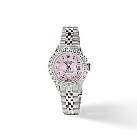 Rolex Datejust Steel 26mm Jubilee Watch 2CT Diamond Bezel/ Pink MOP Diamond Dial