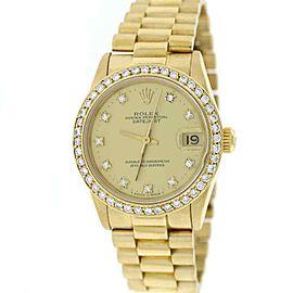 Rolex President Datejust Midsize Gold Factory Diamond Dial 68278 w/Diamond Bezel