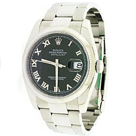 Rolex Datejust Black Roman Dial 36mm Steel Oyster Watch 116200 Box Papers