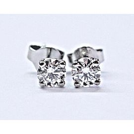 Platinum Round Cut Diamond Screw Back Stud Earrings .66Ct F-VS1