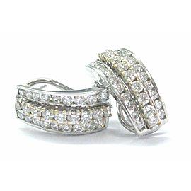 Fine Round Cut Diamond 2-Tone Huggie Earrings 2.16Ct