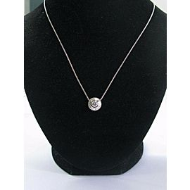 Platinum Round Cut Diamond Milgrain Solitaire Pendant Necklace .55Ct G-VS2