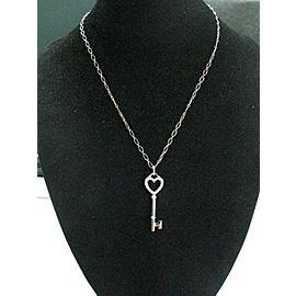"Tiffany & Co 18Kt Heart Key Diamond Pendant W Chain 16"" 1.5"" .08Ct"