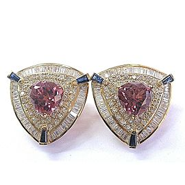 18Kt NATURAL Trillion Cut Pink Tourmaline Sapphire & Diamond Earrings YG 14.01Ct