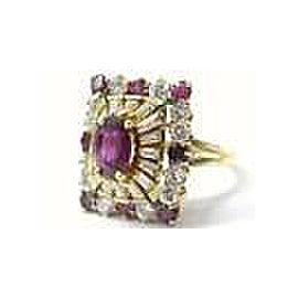 Ruby & Diamond Ballerina Ring 18Kt Yellow Gold 3.15Ct F-VS1 SIZEABLE